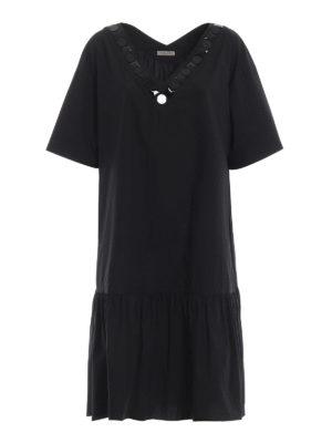 BOTTEGA VENETA: abiti al ginocchio - Abito over nero in cotone con balza