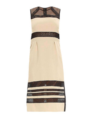 Bottega Veneta: knee length dresses - Sleeveless lace detail dress