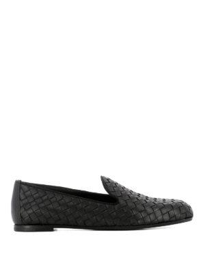 Bottega Veneta: Loafers & Slippers - Black Intrecciato leather loafers