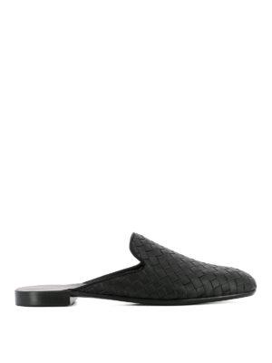 Bottega Veneta: Loafers & Slippers - Intrecciato black leather slippers