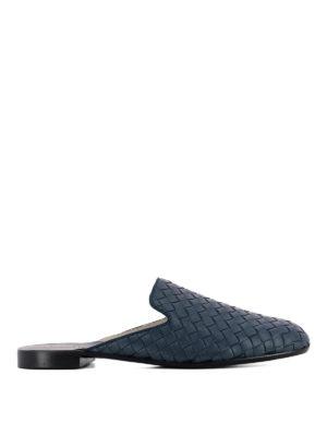 Bottega Veneta: Loafers & Slippers - Intrecciato blue leather slippers