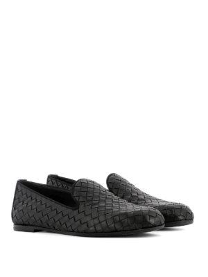 Bottega Veneta: Loafers & Slippers online - Black Intrecciato leather loafers