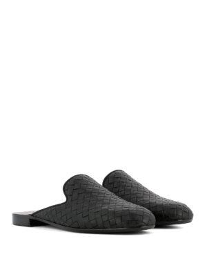 Bottega Veneta: Loafers & Slippers online - Intrecciato black leather slippers