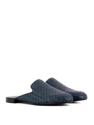 Bottega Veneta: Loafers & Slippers online - Intrecciato blue leather slippers