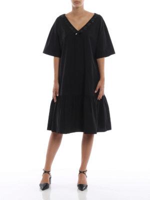 BOTTEGA VENETA: abiti al ginocchio online - Abito over nero in cotone con balza