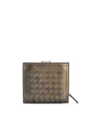 BOTTEGA VENETA: portafogli online - Portafoglio in pelle metallizzata Intrecciato