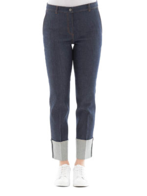 Bottega Veneta: straight leg jeans online - Intrecciato detailed cotton jeans