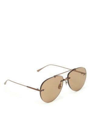Bottega Veneta: sunglasses - Bronze metal aviator sunglasses