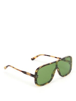 Bottega Veneta: sunglasses - Havana acetate mask sunglasses