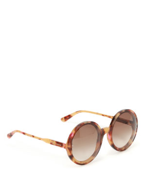 Bottega Veneta: sunglasses - Havana oversized round sunglasses