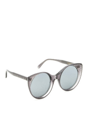 Bottega Veneta: sunglasses - Intrecciato cat-eye sunglasses
