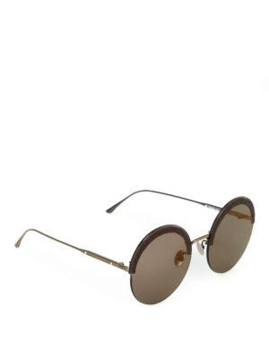 BOTTEGA VENETA: occhiali da sole - Occhiali con inserto in pelle Intrecciato