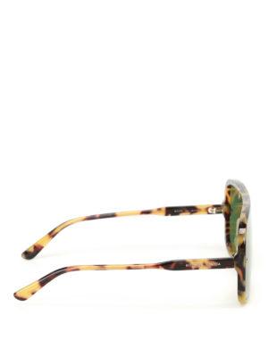 Bottega Veneta: sunglasses online - Havana acetate mask sunglasses