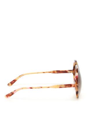 Bottega Veneta: sunglasses online - Havana oversized round sunglasses