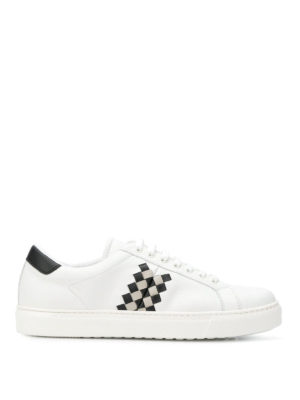 BOTTEGA VENETA: sneakers - Sneaker in pelle bianca Bv Checker