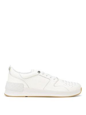 BOTTEGA VENETA: sneakers - Sneaker in nappa Intrecciato bianco Bv Grand