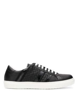 BOTTEGA VENETA: sneakers - Sneaker in pelle nera Bv Tech Stripe