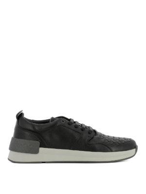 Bottega Veneta: trainers - Intrecciato detail black sneakers