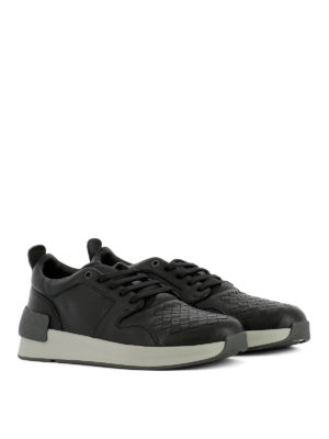 Bottega Veneta: trainers online - Intrecciato detail black sneakers