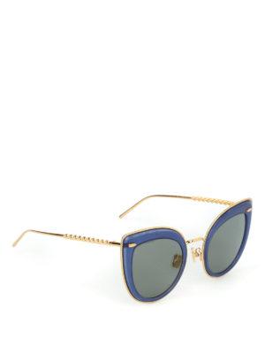 BOUCHERON: occhiali da sole - Occhiali da sole a occhi di gatto blu e oro