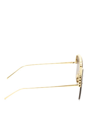 Boucheron: sunglasses online - Gold metal half-frame sunglasses