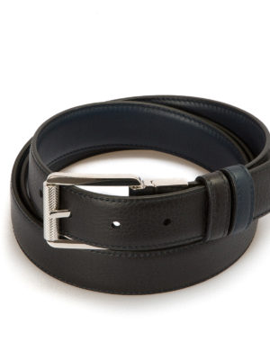 Brioni: belts online - Hammered leather reversible belt