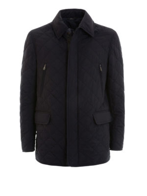 Brioni: casual jackets - Argyle quilted silk long jacket