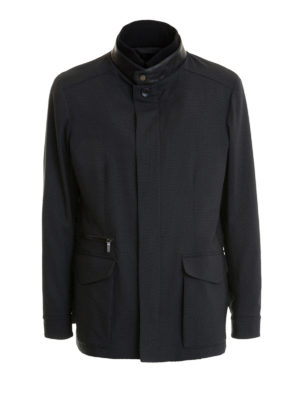 Brioni: casual jackets - Checked stretch wool field jacket