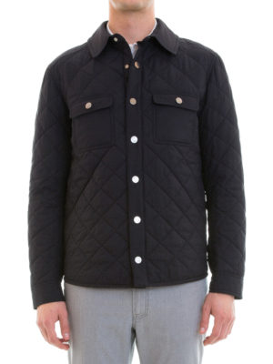 Brioni: casual jackets online - Argyle quilted silk jacket