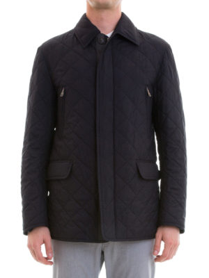 Brioni: casual jackets online - Argyle quilted silk long jacket