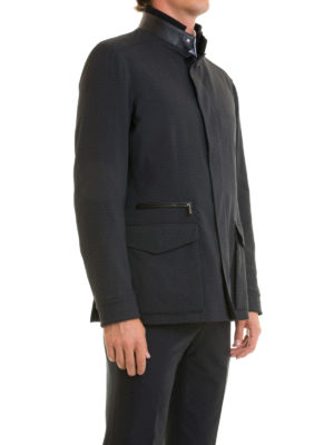Brioni: casual jackets online - Checked stretch wool field jacket
