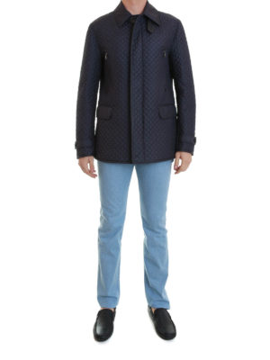 Brioni: casual jackets online - Padded quilted silk jacket
