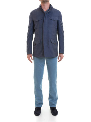 Brioni: casual jackets online - Sharkskin blue wool field jacket