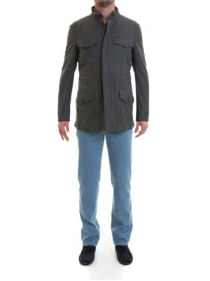 Brioni: casual jackets online - Sharkskin virgin wool field jacket