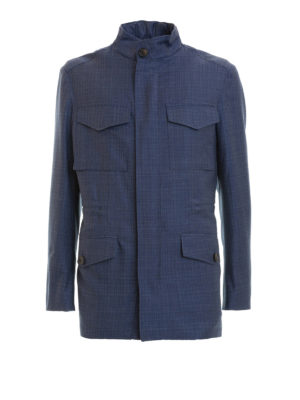 Brioni: casual jackets - Sharkskin blue wool field jacket