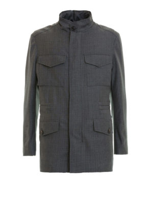 Brioni: casual jackets - Sharkskin virgin wool field jacket