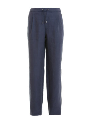 Brioni: casual trousers - Linen loose fit trousers