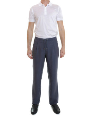 Brioni: casual trousers online - Linen loose fit trousers