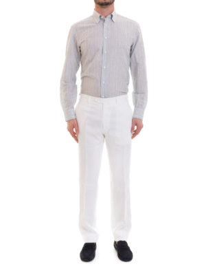 Brioni: casual trousers online - White linen trousers