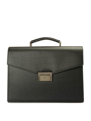 Brioni: laptop bags & briefcases - Abraham saffiano leather briefcase
