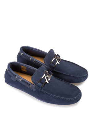 Brioni: Loafers & Slippers online - Suede loafers with metal B