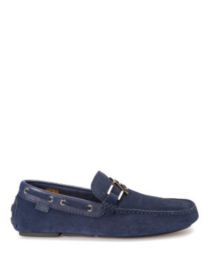 Brioni: Loafers & Slippers - Suede loafers with metal B