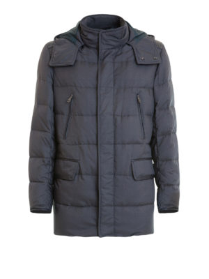Brioni: padded jackets - Leather trimmed quilted down jacket