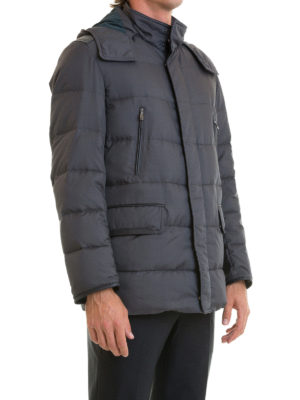 Brioni: padded jackets online - Leather trimmed quilted down jacket
