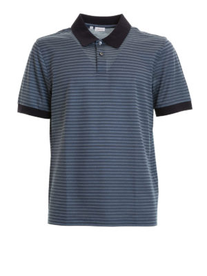Brioni: polo shirts - Blue collar and cuffs striped polo