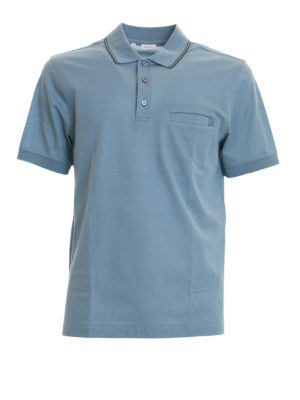Brioni: polo shirts - Chest pocket light blue cotton polo