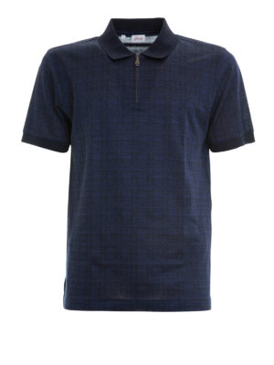 Brioni: polo shirts - Geometric pattern cotton polo shirt
