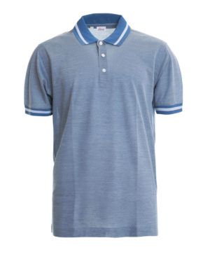 Brioni: polo shirts - Melange cotton and silk blend polo