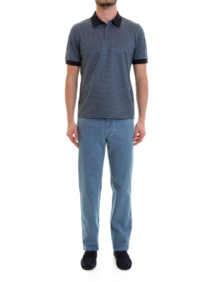 Brioni: polo shirts online - Blue collar and cuffs striped polo