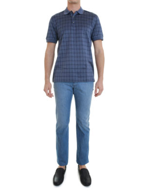 Brioni: polo shirts online - Check cotton polo